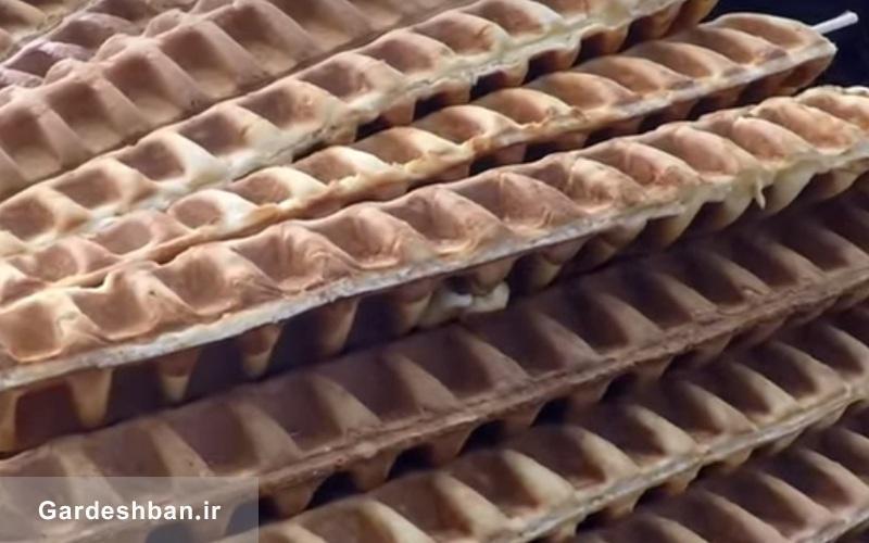 ببینید، وافل بستنی شکل با شکلات در خیابان های فرانسه